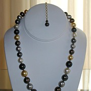 Nancy Pelosi Hand Knotted Graduated Swarovski Pearl Necklace $135