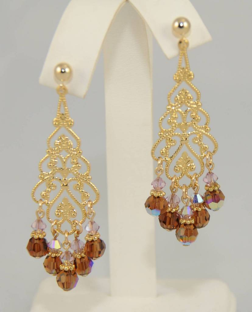 Smokey Topaz and Light Amethyst Swarovski Crystal Chandelier Earring