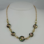 One-of-a-Kind Swarovski Green & Gold Twist Crystal Necklace