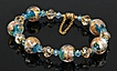 Venetian Murano Glass Bracelet in a Turquoise Aqua with Magnetized Clasp and Safety Chain