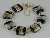 Handmade Venetian Murano Glass and Swarovski Crystal Bracelet with Magnetized Clasp & Safety Chain