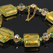 Venetian Murano Glass and Swarovski Crystal Bracelet in Yellow Gold and Peridot Green