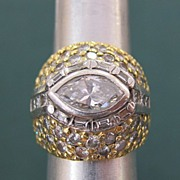 Custom Design Lady's 18K Gold & Platinum 3.39 Carat Diamond Ring