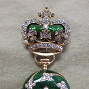 Antique Lady's 18K Gold, French Enamel & Diamond Encrusted Watch Holder & Watch