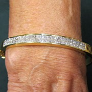 Lady's 18K Yellow Gold Bangle Diamond Bracelet - 3.5 Carat