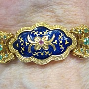 18K Heavy Yellow Gold Bracelet - Cobalt Blue Enameling Emeralds & Pink Sapphires