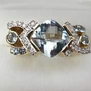 Great Design Aquamarine & Diamond 14K Gold Lady's Ring