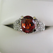 Lady's  Mandarin Garnet & Diamond 14K White Gold Ring