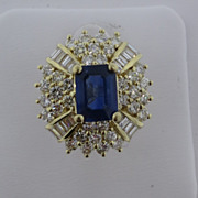 Lady's Sapphire & Diamond 14 kt. Yellow Gold Ring