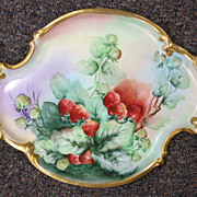 Tressemann & Vogt ( T & V )  Large Limoges Handpainted Tray - Berries
