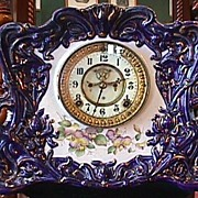 SALE Cobalt Blue, Gold & Floral Ansonia Clock - 1881