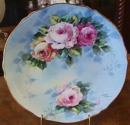 Hand Painted Limoges Plate - Lovely Roses & Gold #2