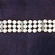 18 K Gold & Pearl Bracelet with VS Diamonds, Rubies, Sapphires, Emeralds