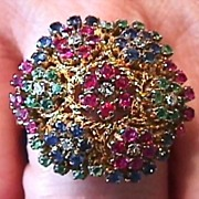 18K  VS Diamond, Ruby, Sapphire & Emerald Ring