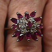 Lady's 14KT White Gold Diamond and Ruby Ring