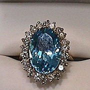 Lady's Blue Topaz & Diamond 14K Yellow Gold Ring