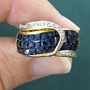 Lady's 18K Yellow Gold, Sapphire & VS Diamond Ring