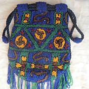 Needle-Woven Glass-Beaded Bag in Native American Motif