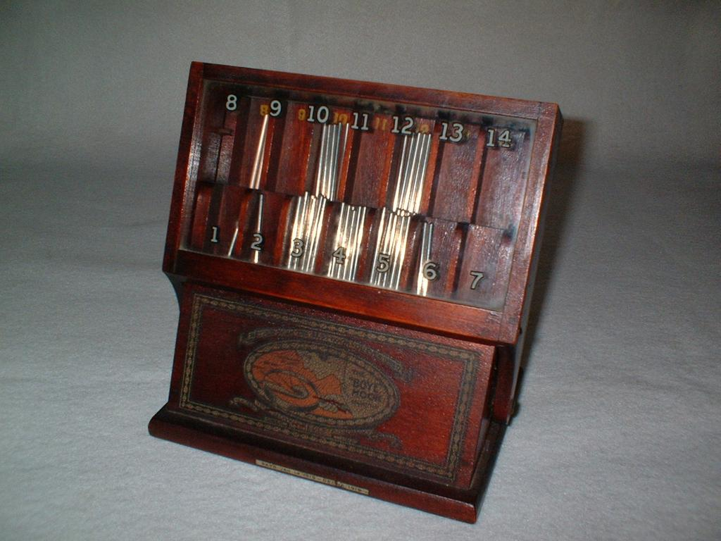 1919 Hardwood Boye Crochet Needle Advertising Display Case - Finely Crafted Vintage Hardwood with Dovetail Construction - General Store / Dry Goods Store Advertising - 40+ Needles Included