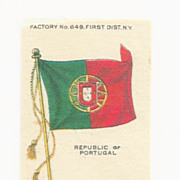 SALE 1910 Republic of Portugal National Flag Tobacco Premium - Early 1900's Vintage Cigarette