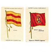 SALE 1785 - 1931 Spain National Flag & Royal Standard Tobacco Premiums - Early 1900's  Vintage