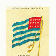 SALE 1875- 1912 El Salvador National Flag Tobacco Premium - Early 1900s Vintage Cigarette Silk