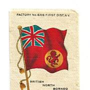 SALE British Colonial Empire Flag - 1903 British North Borneo Union Jack Tobacco Premium - Ear