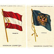 SALE Circa 1900 Austria - Hungary Flags  - Cities of Vienna & Trieste Flag Tobacco Premiums -