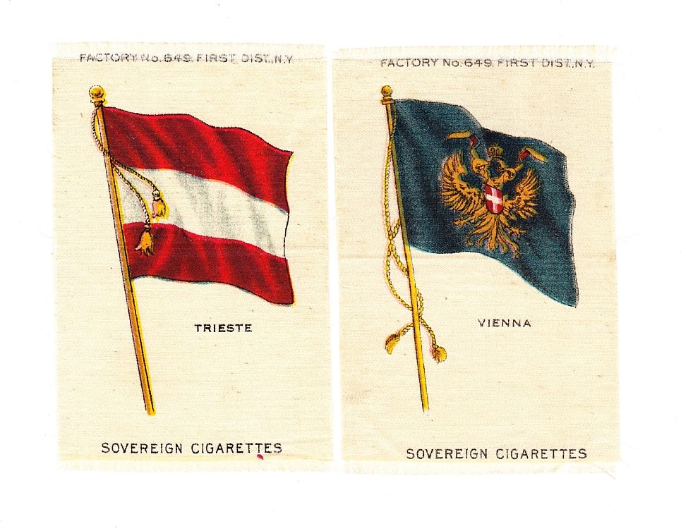 Circa 1900 Austria - Hungary Flags  - Cities of Vienna & Trieste Flag Tobacco Premiums -  Early 1900's Vintage  Cigarette Silks - Sovereign Cigarettes Tobacco Advertising - American Tobacco Company