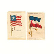 SALE Colonial Africa Flag Tobacco Premiums - 1845 Liberia and 1865 - 1896 Madagascar Flags - E