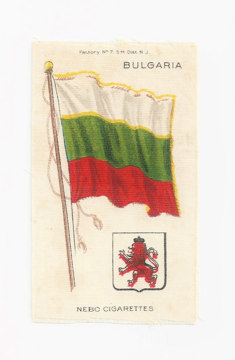 Large 1879 First National Flag of Bulgaria Tobacco Premium – Early 1900s Vintage Flag Silk – Nebo Cigarettes - American Tobacco Company