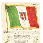 SALE Large 1848-1946 Italy National Flag Tobacco Premium - Italian National Anthem  - Early 19