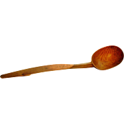 Vintage Country Kitchen Treen - Large Tiger Maple Wooden Kitchen Spoon - Hand-Carved with Scri