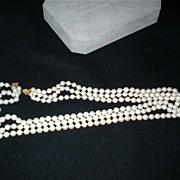 SOLD Vintage Three Strand Cultured Pearl Necklace with 14K Yellow Filigree Clasp - 227 Nearly