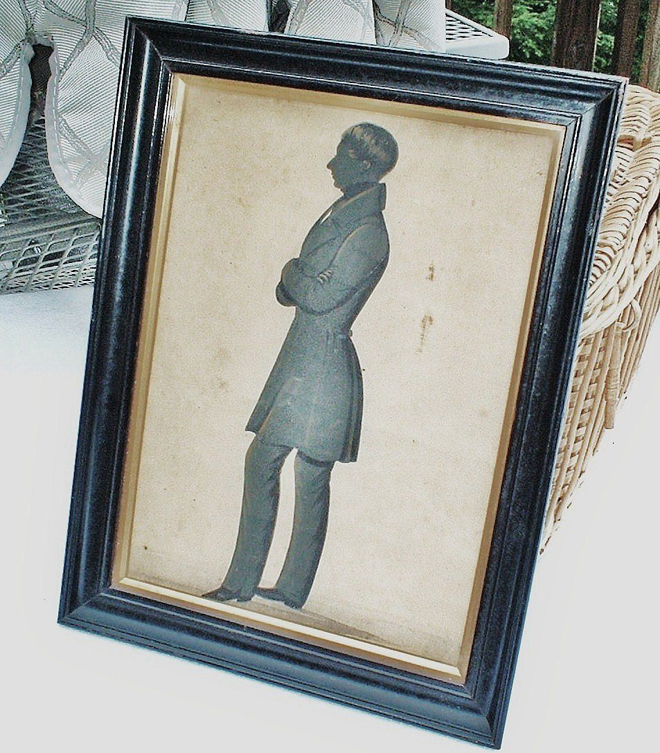 Hand-Painted Silhouette of a Victorian English Gentleman -  Edward Lewin Griffith, 1815-1895