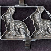 Large Sitting Easter Rabbit Chocolate Molds � Two Classic Hares in a Hinged Pewter Frame � Sol