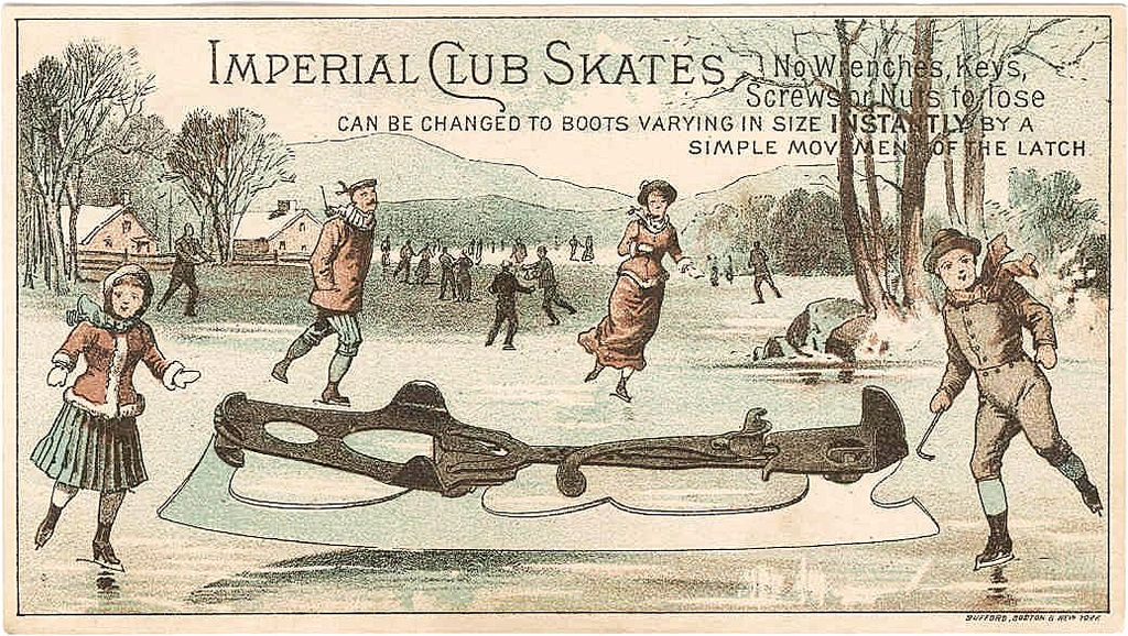 Rare 1870s Ice Skating Advertising Trade Card - Victorian Winter Sports - Imperial Club Ice Skates - Richmond, Maine Store