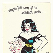 Vintage 1940s -1950s Little Abner Cartoon Character Get Well Greeting Card - Moonbeam McSwine
