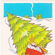 SALE Rare Vintage 1951 Little King Cartoon Christmas Greeting Card - Comic Strip Character by
