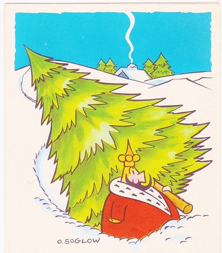 Rare Vintage 1951 Little King Cartoon Christmas Greeting Card - Comic Strip Character by American Cartoonist Otto Soglow - Suitable for Framing