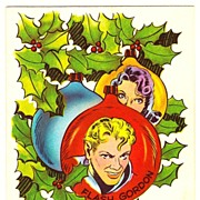 SALE Vintage 1951 Flash Gordon and Dale Arden Comic Strip Characters  Christmas Greeting Card