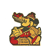Vintage 1938 Mickey Mouse Cartoon Character - Small Cardboard Stand-up Cut-out  Copyright Wal