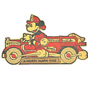 Vintage 1938 Mickey Mouse Cartoon Character  With Fire Engine - Small Cardboard Stand-up Cut-