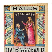 SALE Early Women's Hair Dye - Patent Medicine Victorian Advertising Trade Card - 1870s Hall's