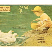 SALE 1918 Patent Medicine Advertising Trade Card - Hood's Sarsaparilla and Peptiron Laxative -
