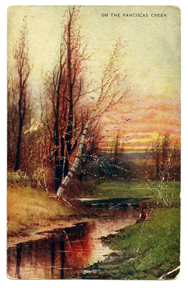 Vintage c1900 RANCOCAS CREEK, NEW JERSEY Art Postcard &ndash;  Artist Signed Landscape - Unused