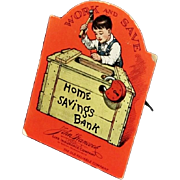 Very Rare Circa 1928 Paper Advertising Bank - John Hancock Mutual Life Insurance Company  Home