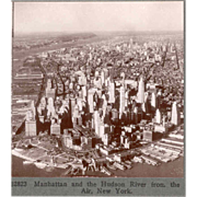 SALE 1930s New York City Lower Manhattan Aerial Stereo View - Financial District Foreground -