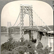 SALE Early Circa 1938 New York City Stereo View - George Washington Bridge - Manhattan Landmar