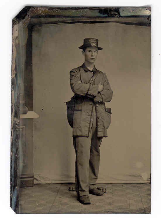 Circa 1870  Early United States Postal Worker Tintype Photograph - Rare